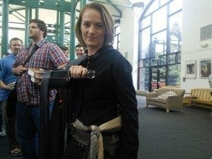 Mistborn with glass dagger at Orem Library book signing.